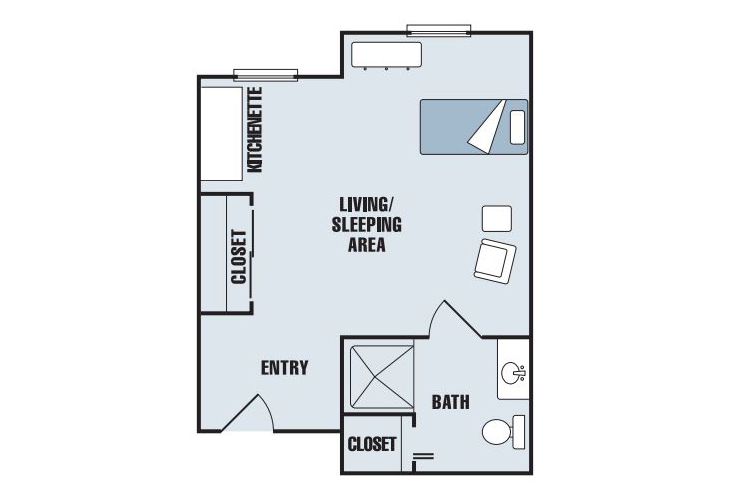 Carriage House Assisted Living Studio Kitchen Floor Plan
