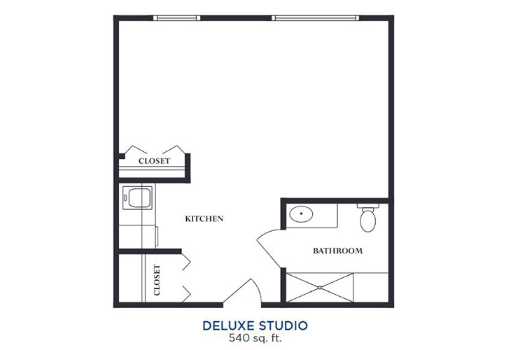 Cherry Hill Memory Care Deluxe Studio Floor Plan