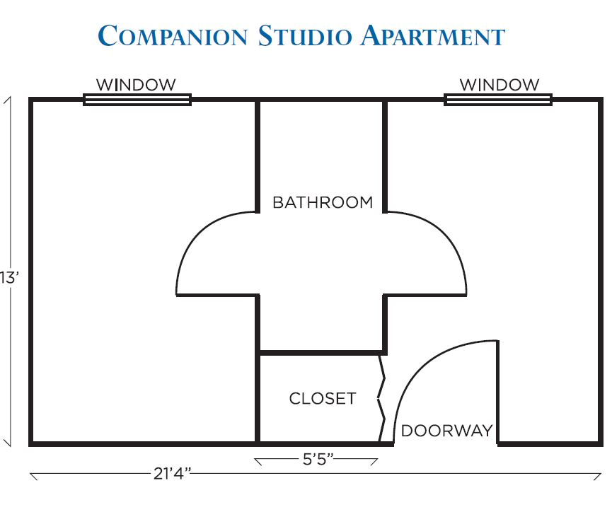 Dominion Village at Poquoson Assisted Living Companion Studio Apt Floor Plan