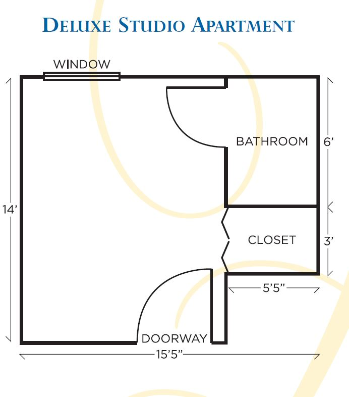 Dominion Village at Poquoson Assisted Living Deluxe Studio Apt Floor Plan