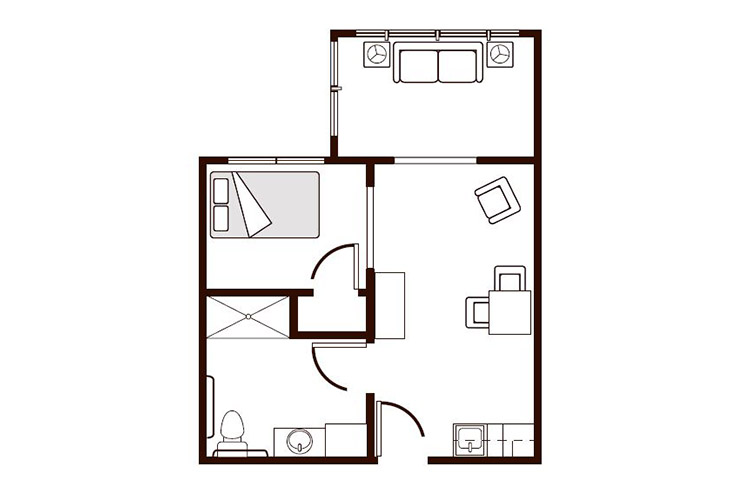 Amber Ridge Memory Care One Bedroom Alcove Floor Plan