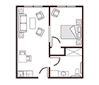 Amber Ridge Memory Care One Bedroom Floor Plan