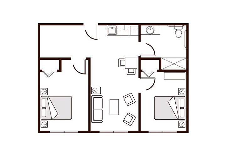 Amber Ridge Memory Care Two Bedroom Floor Plan