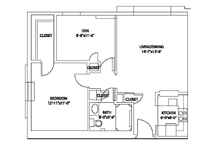 Aspenwood Senior Living Assisted Living 1 Bedroom with Den Floor Plan