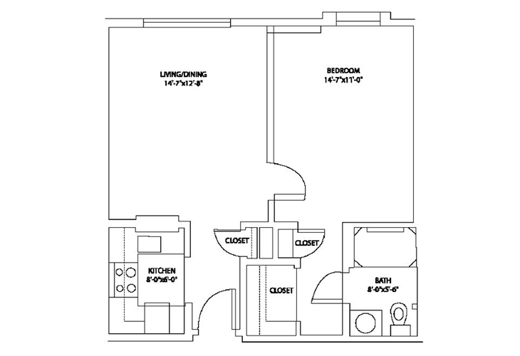 Aspenwood Senior Living Independent Living 1 BR Floor Plan