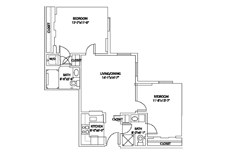 Aspenwood Senior Living Assisted Living 2 BR Floor Plan