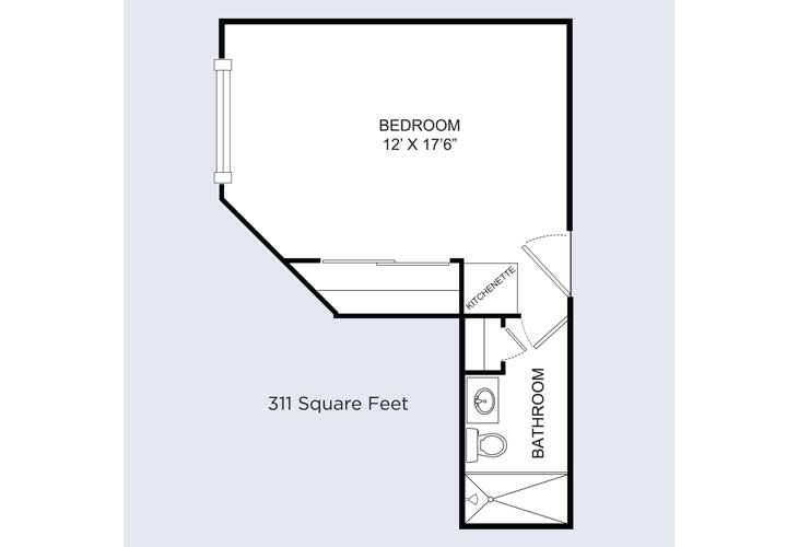 Barrington Terrace Assisted Living Arbor Studio Floor Plan