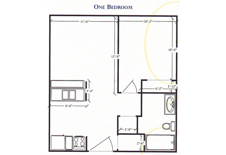 Brenden Gardens Independent Living 1 Bedroom Floor Plan