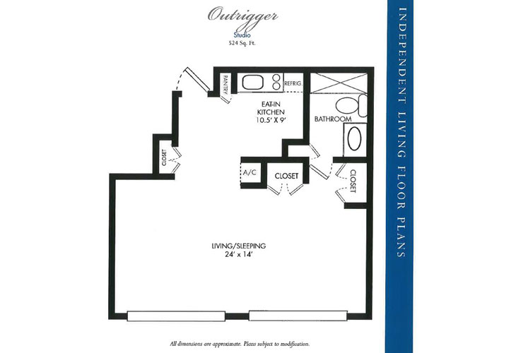 Calusa Harbour Independent Living Outrigger Floor Plan