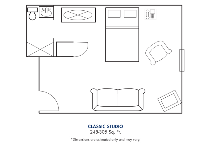 Cameron Hall of Canton Assisted Living Classic Studio Floor Plan
