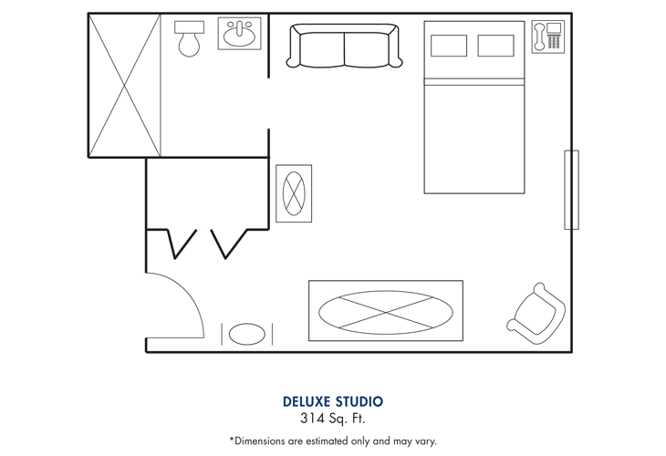 Cameron Hall of Canton Assisted Living Deluxe Studio Floor Plan