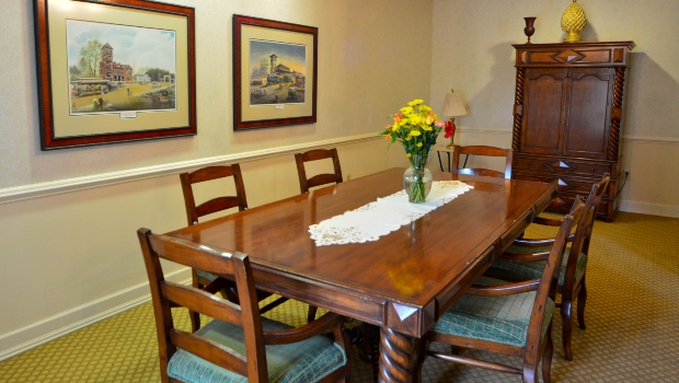 private dining room with one large table