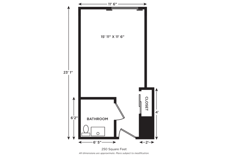 Church Creek Assisted Living Studio Floor Plan