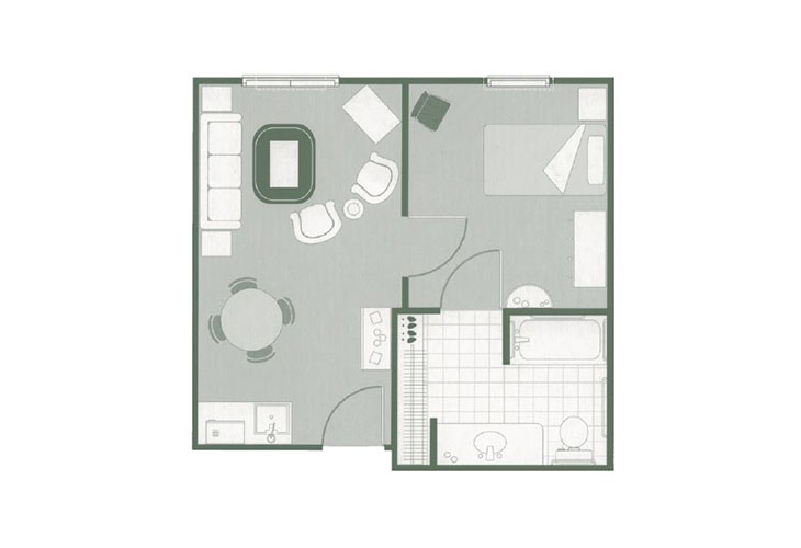 Morningside of Mayfield Assisted Living One Bedroom Suite Floor Plan