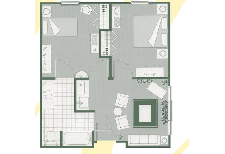 Morningside of Mayfield Assisted Living Two Bedroom Suite Floor Plan