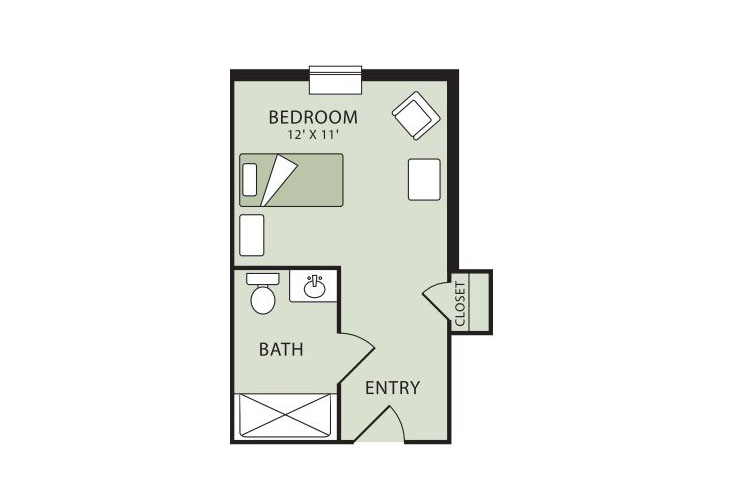 Morningside of Raleigh Memory Care Studio Floor Plan