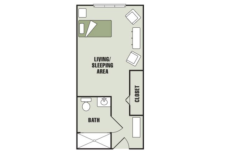 Morningside of Gastonia Memory Care Deluxe Studio Floor Plan