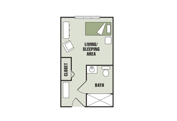 Morningside of Gastonia Assisted Living Studio Floor Plan