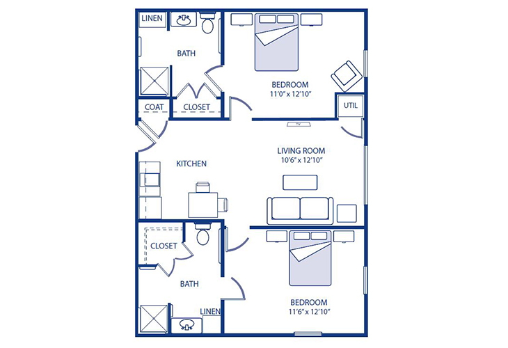 Morningside of Godfrey Assisted Living Two Bedroom Floor Plan