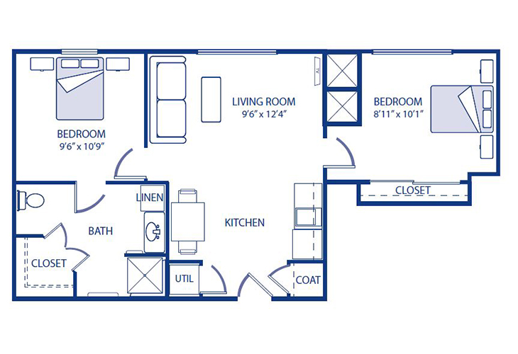 Morningside of Godfrey Memory Care Modified Two Bedroom Floor Plan