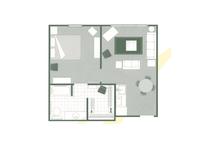 Morningside of Greenwood Assisted Living One Bedroom Deluxe Floor Plan