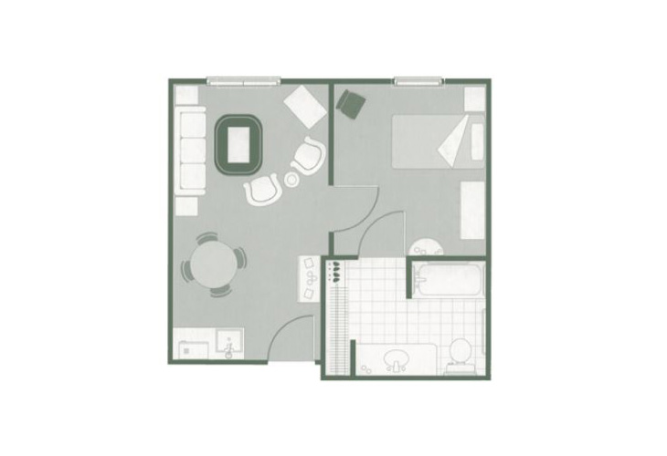 Morningside of Greenwood Assisted Living One Bedroom Suite Floor Plan