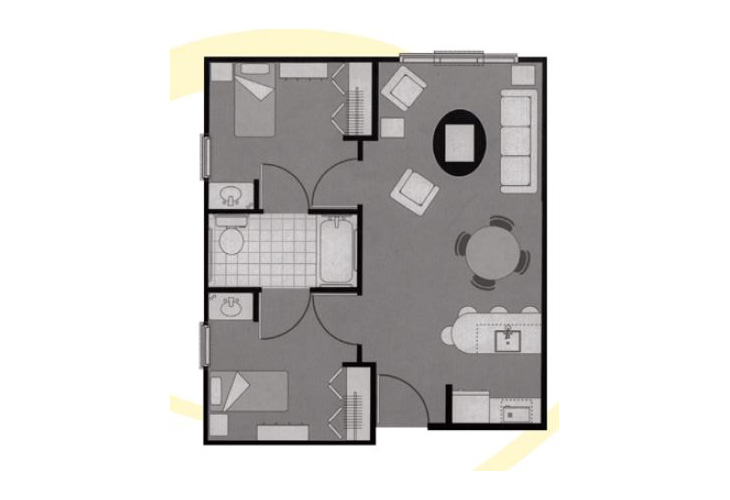 Morningside of Greenwood Assisted Living Two Bedroom Deluxe Floor Plan