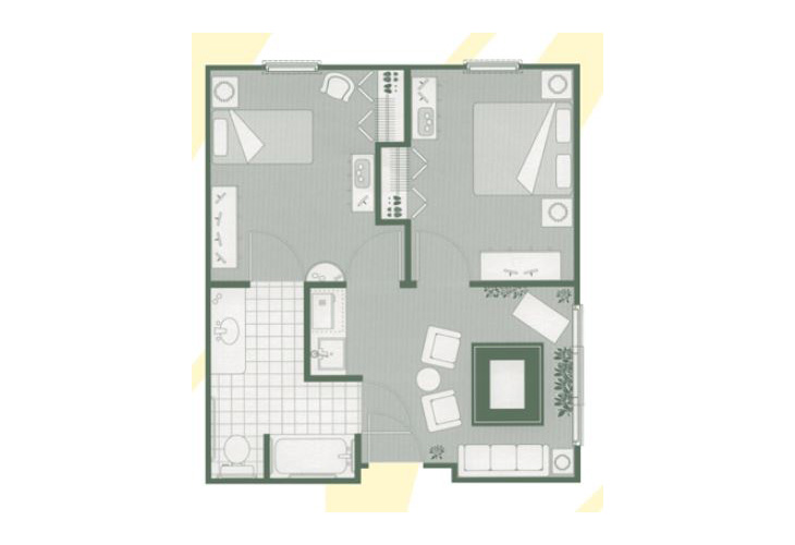Morningside of Greenwood Assisted Living Two Bedroom Suite Floor Plan
