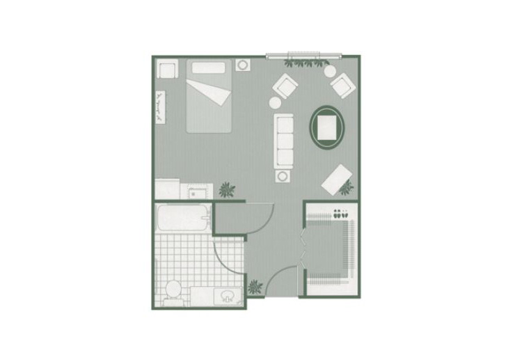 Morningside of Greenwood Assisted Living Deluxe Studio Floor Plan
