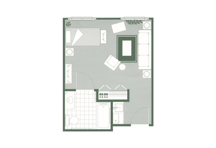 Morningside of Greenwood Assisted Living Studio Floor Plan