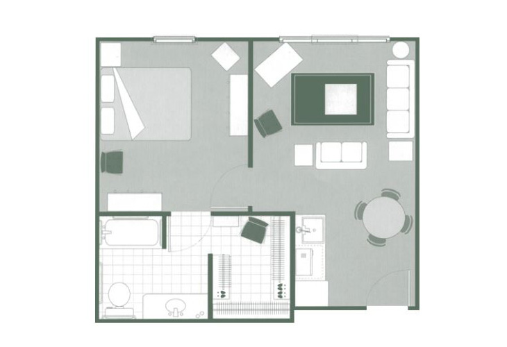 Morningside of Hartsville Memory Care One Bedroom Deluxe Floor Plan