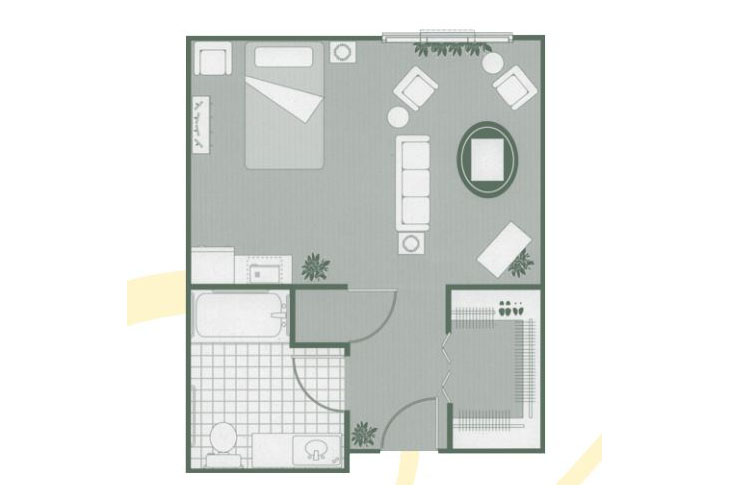 Morningside of Hartsville Memory Care Deluxe Studio Floor Plan