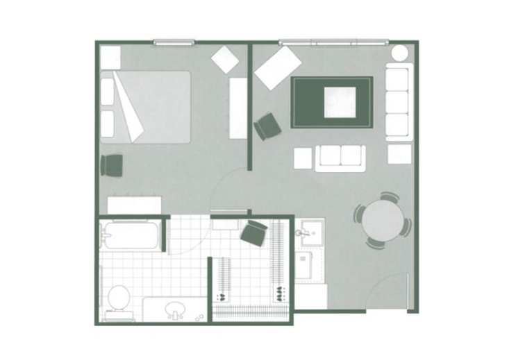 Morningside of Lancaster Assisted Living One Bedroom Deluxe Floor Plan
