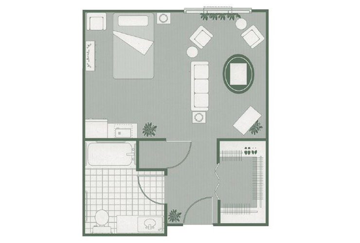 Morningside of Mayfield Assisted Living Deluxe Studio Floor Plan