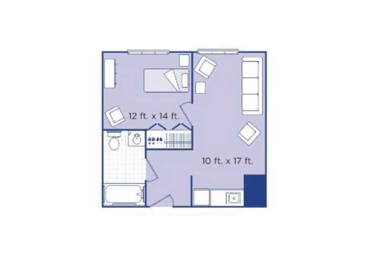 Morningside of Newport News Assisted Living One Bedroom Suite Floor Plan