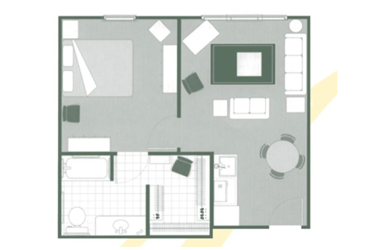 Morningside of Orangeburg Assisted Living One Bedroom Deluxe Floor Plan