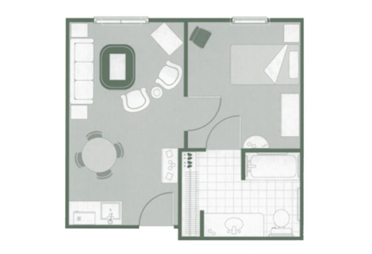 Morningside of Orangeburg Assisted Living One Bedroom Suite Floor Plan