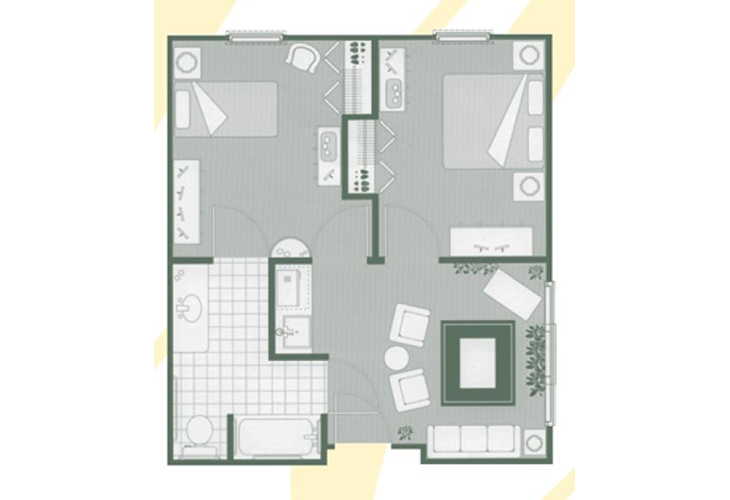 Morningside of Orangeburg Assisted Living Two Bedroom Suite Floor Plan
