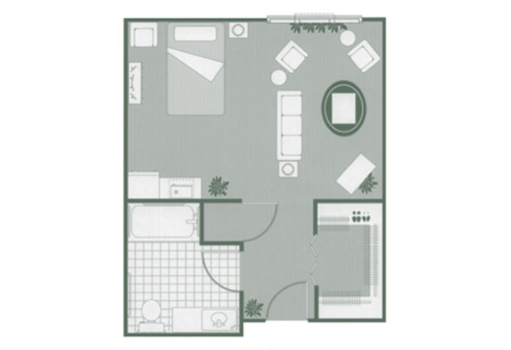Morningside of Orangeburg Assisted Living Deluxe Studio Floor Plan