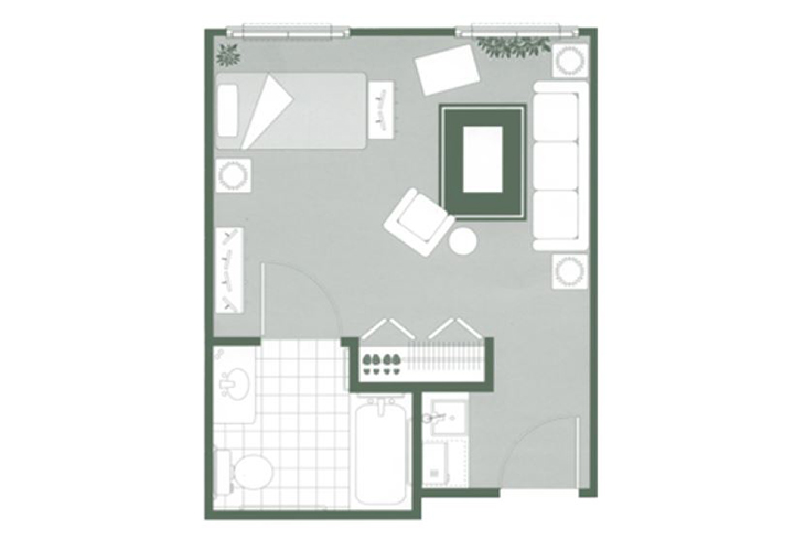Morningside of Orangeburg Assisted Living Studio Floor Plan