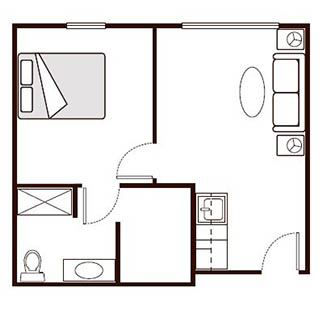Morningside of Paris Memory Care One Bedroom Deluxe Floor Plan