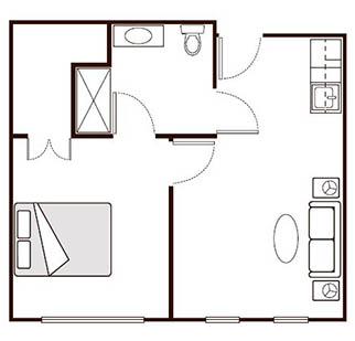 Morningside of Paris Memory Care One Bedroom Luxury Floor Plan