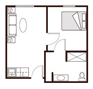 Morningside of Paris Memory Care One Bedroom Floor Plan