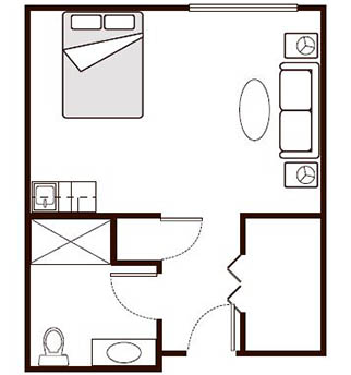 Morningside of Paris Assisted Living Studio Deluxe Floor Plan