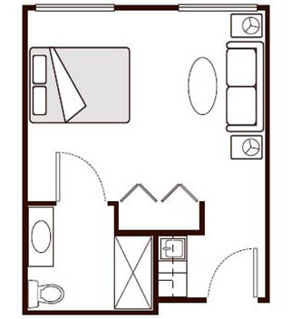 Morningside of Paris Assisted Living Studio Floor Plan