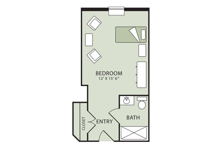 Morningside of Raleigh Memory Care Deluxe Studio Floor Plan