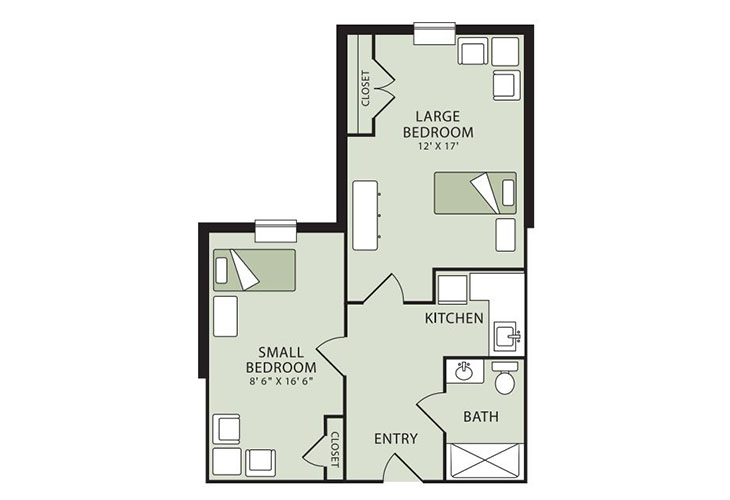 Morningside of Raleigh Memory Care Shared Suite Floor Plan