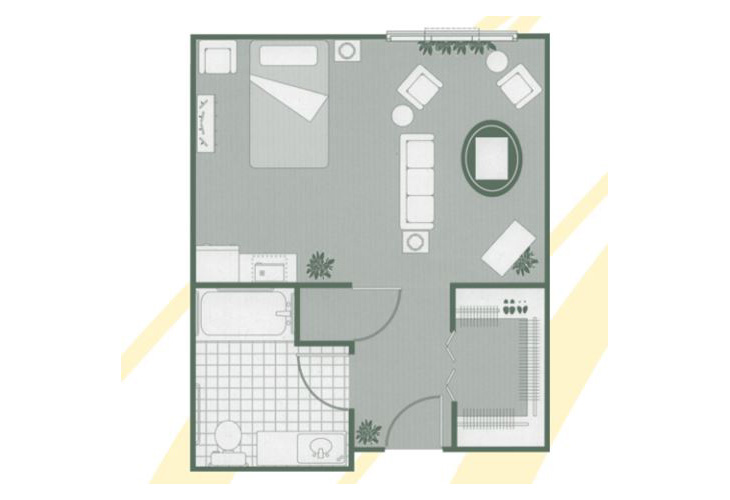 Morningside of Rock Hill Assisted Living Deluxe Studio Floor Plan