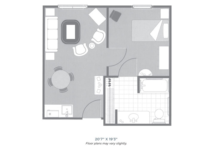 Morningside of Sheffield Assisted Living One Bedroom Floor Plan