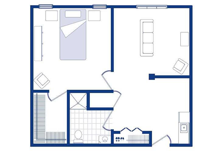Morningside of Sterling Assisted Living One Bedroom Deluxe (1) Floor Plan